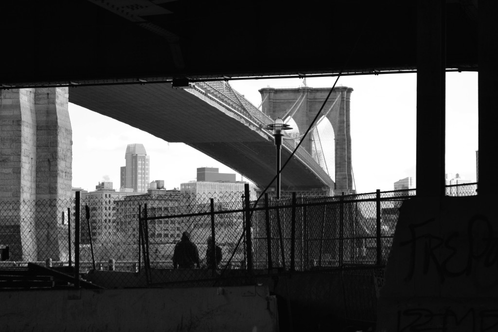 Brooklyn Bridge from South Street in New York City. Picture made by Mehdi Guenin.